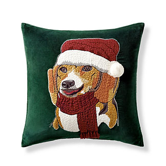 Holiday Dog Velvet Decorative Pillow Covers