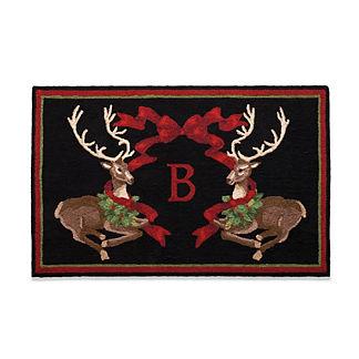 Joyful Reindeer Monogrammed Door Mat