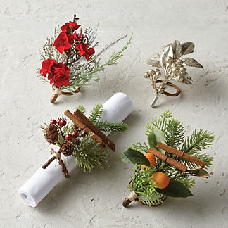 Winter Faux Floral & Greenery Napkin Rings, Set of Four