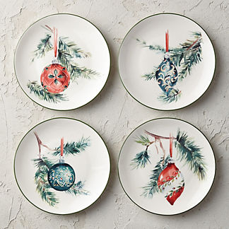 Holiday Ornament Side Plates, Set of Four