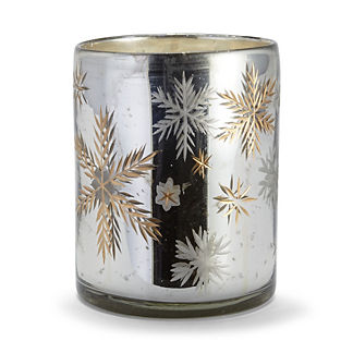 Mercury Glass Cylinder Snowflake Candle