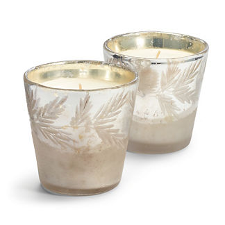 Mercury Glass Pine Needle Candles, Set of Two
