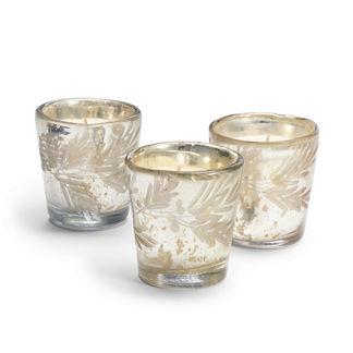 Mercury Glass Pine Needle Candles, Set of Three