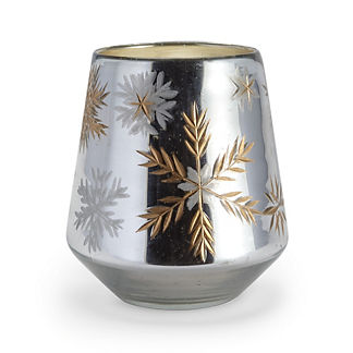 Mercury Glass Tapered Snowflake Candle