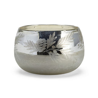 Mercury Glass Pine Needle Candle Pot
