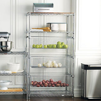 Tower Shelving with Pull-out Bins