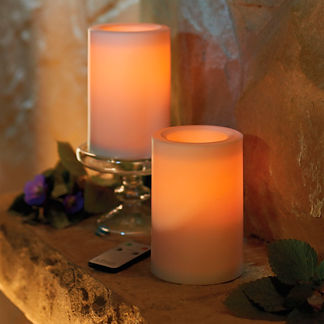 Battery-operated Flameless Outdoor Candles with Remote, Set of Two