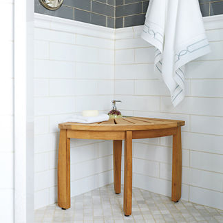 Resort Teak Corner Shower Seat with Basket