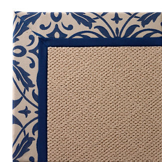 Outdoor Parkdale Rug in Sunbrella Softly Elegant Cobalt White Wicker