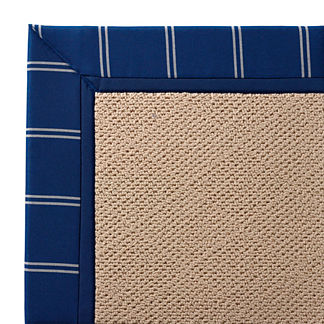 Outdoor Parkdale Rug in Sunbrella Topside Cobalt with Cobalt Border White Wicker