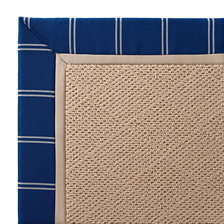 Outdoor Parkdale Rug in Sunbrella Topside Cobalt with Oyster Border White Wicker