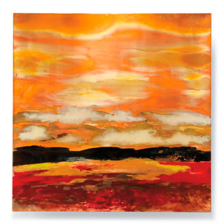 Copper Landscapes Outdoor Wall Art in Red