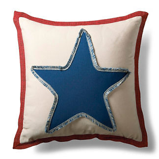 Americana Star Fringed Outdoor Pillow