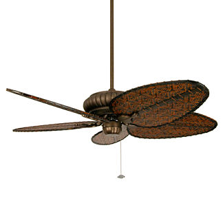 Naples Outdoor Ceiling Fan in Aged Bronze with All-weather Woven Bamboo Blades