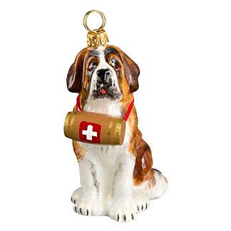 St. Bernard with Barrel Dog Ornament