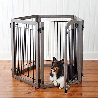 Six-panel Hardwood Pet Gate to Crate