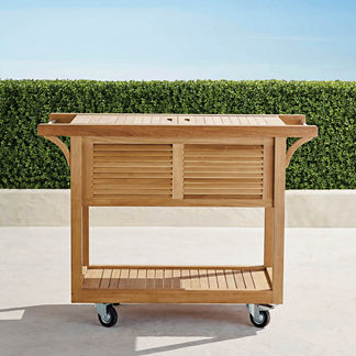 Teak Bar Cart with Beverage Tub