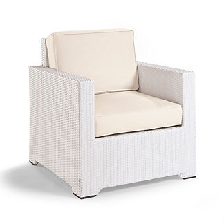 Small Palermo Lounge Chair with Cushions in White Finish, Special Order