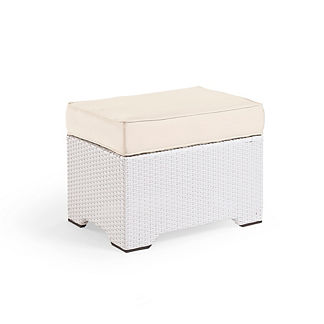 Small Palermo Ottoman with Cushion in White Finish, Special Order