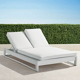 Palermo Double Chaise Lounge with Cushions in White Finish