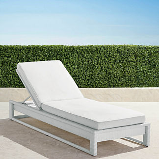 Palermo Chaise Lounge with Cushions in White Finish, Special Order