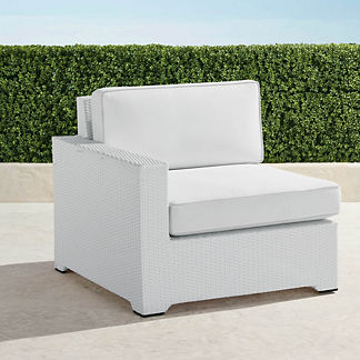 Palermo Left-facing Chair with Cushions in White Finish, Special Order