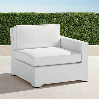 Palermo Right-facing Chair with Cushions in White Finish, Special Order