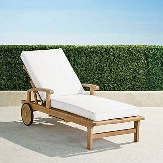 Cassara Chaise Lounge with Cushions in Natural Finish