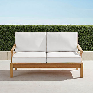 Cassara Loveseat with Cushions in Natural Finish, Special Order