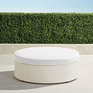 Pasadena Ottoman with Cushion in Ivory Finish, Special Order