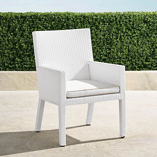 Palermo Dining Arm Chairs in White Finish, Set of Two