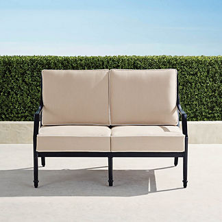 Grayson Loveseat with Cushions in Black Finish, Special Order
