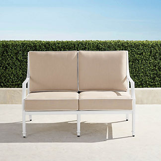 Grayson Loveseat with Cushions in White Finish