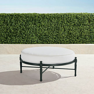 Carlisle Round Ottoman with Cushion in Onyx Finish, Special Order