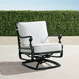 Carlisle Swivel Lounge Chair with Cushions in Onyx Finish, Special Order