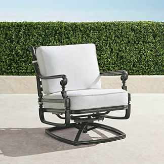 Carlisle Swivel Lounge Chair with Cushions in Slate Finish