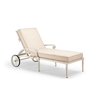 Carlisle Chaise Lounge with Cushions in Parisian Ivory Finish, Special Order