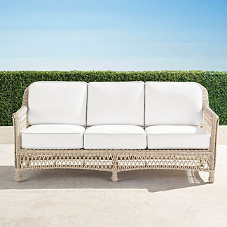 Hampton Sofa with Cushions in Ivory Finish