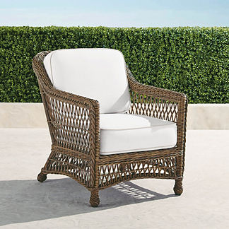 Hampton Lounge Chair with Cushions in Driftwood Finish, Special Order