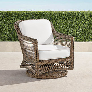 Hampton Swivel Lounge Chair with Cushions in Driftwood Finish, Special Order