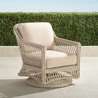 Hampton Swivel Lounge Chair with Cushions in Ivory Finish