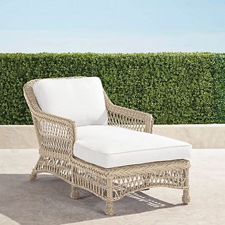 Hampton Chaise Lounge with Cushions in Ivory Finish, Special Order