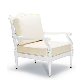 Glen Isle Lounge Chair with Cushions in White Finish, Special Order