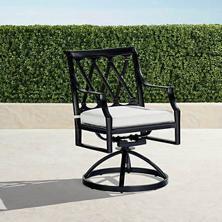 Grayson Swivel Dining Chairs in Black Finish, Set of Two