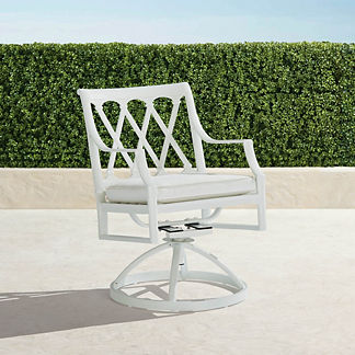 Grayson Swivel Dining Arm Chairs in White Finish, Set of Two