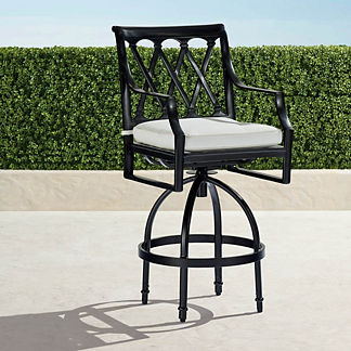 Grayson Set of Two Swivel Bar Stools in Black Finish