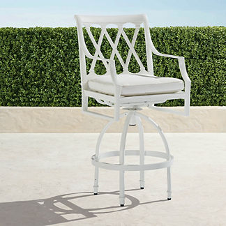 Grayson Set of Two Swivel Bar Stools in White Finish