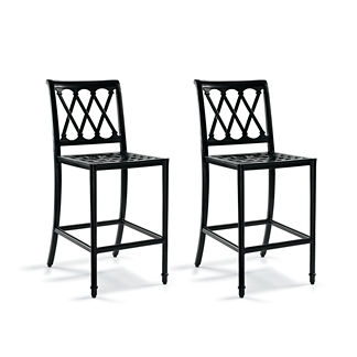 Grayson Set of Two Bar Stools in Black Finish