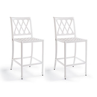 Grayson Set of Two Bar Stools in White Finish