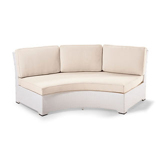 Palermo Armless Curved Sofa with Cushions in White Finish, Special Order